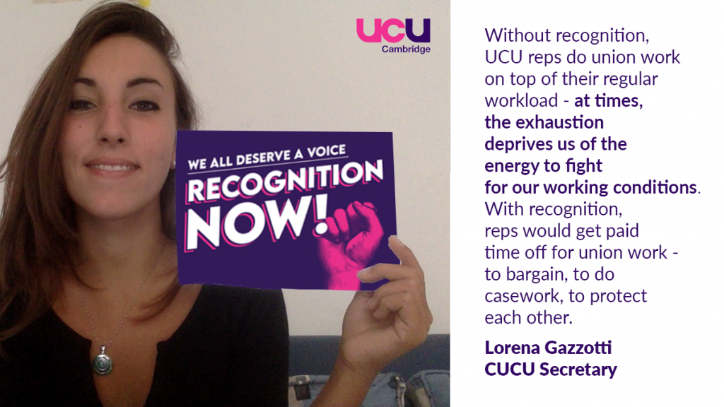 Without recognition, UCU reps do union work on top of their regular workload - at times, this deprives us of the energy to fight for our working conditions. With recognition, reps would get paid time off to do union work - to bargain, to do casework, to protect each other.