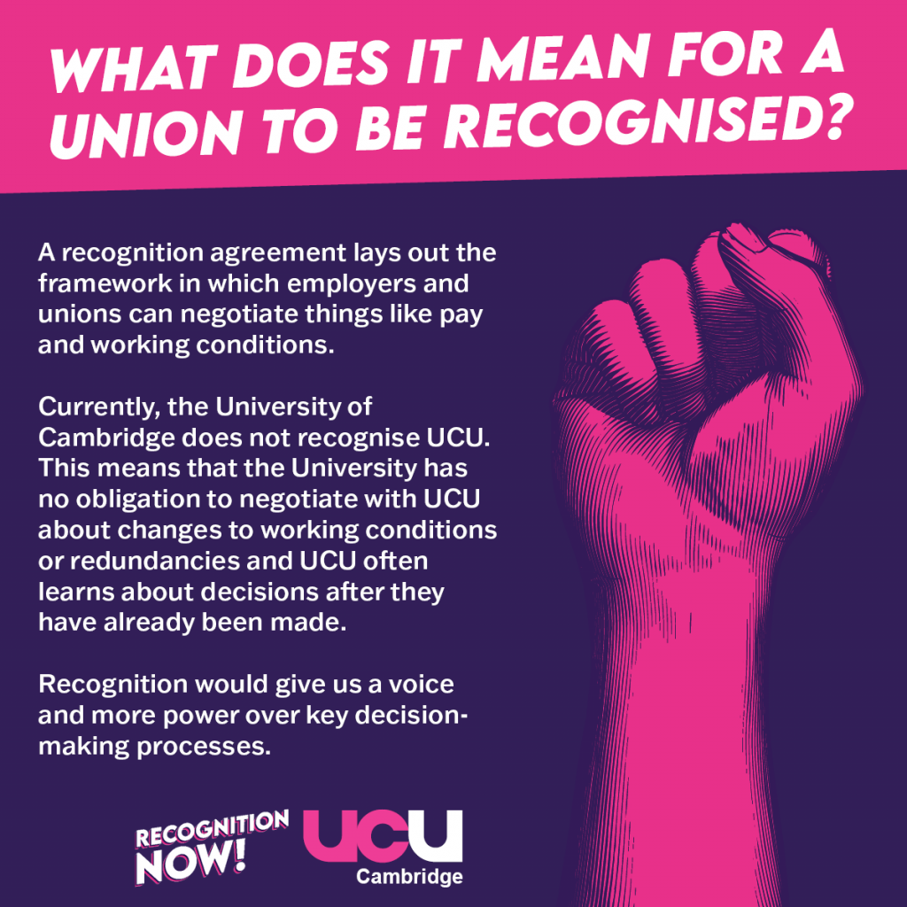 A recognition agreement lays out the framework in which employers and unions can negotiate things like pay and working conditions. Currently, the University of Cambridge does not recognise UCU. This means that the University has no obligation to negotiate with UCU about changes to working conditions or redundancies and UCU often learns about decisions after they have already been made. Recognition would give us a voice and more power over key decision-making processes.