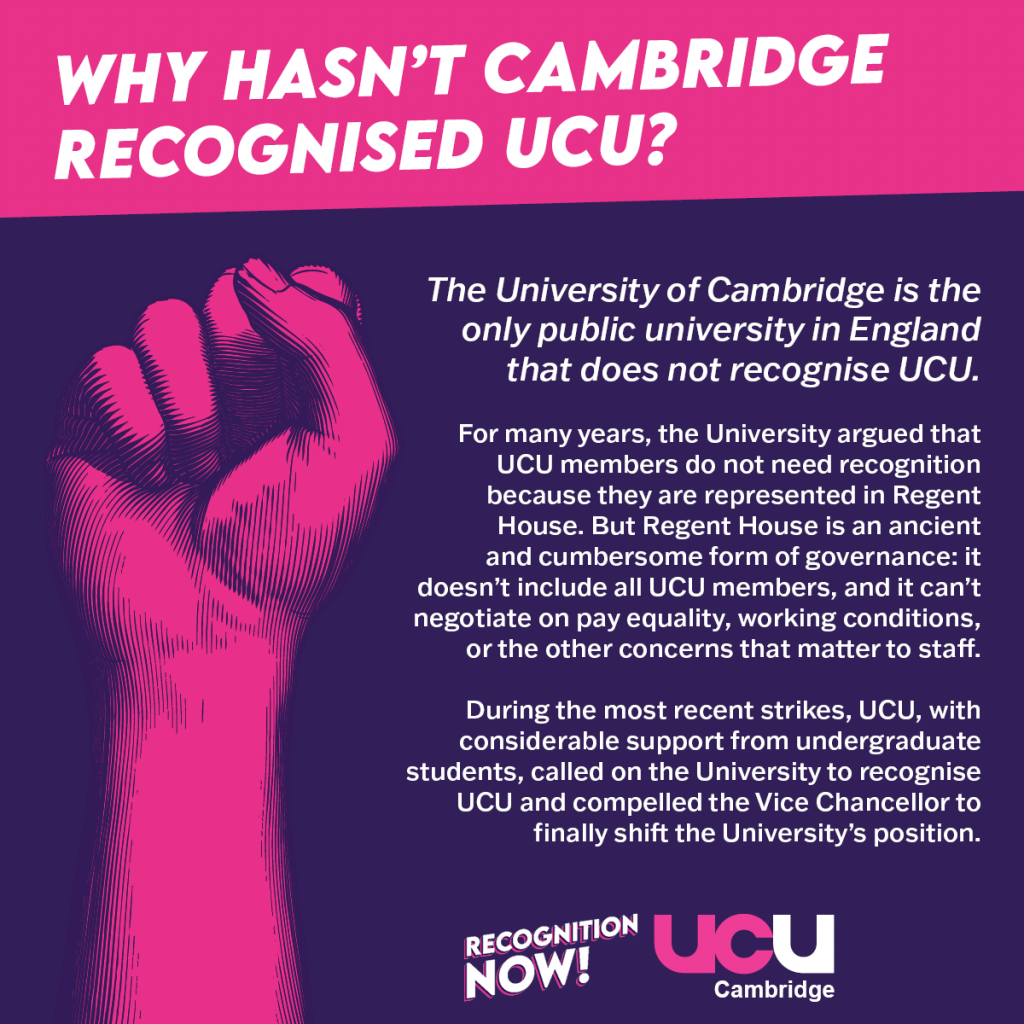 The University of Cambridge is the only public university in England that does not recognise UCU. For many years, the University argued that UCU members do not need recognition because they are represented in Regent House. But Regent House is an ancient and cumbersome form of governance: it doesn't include all UCU members, and it can't negotiate on pay equality, working conditions, or the other concerns that matter to staff. During the most recent strikes, UCU, with considerable support from undergraduate students, called on the University to recognise UCU and compelled the Vice Chancellor to finally shift the University's position.